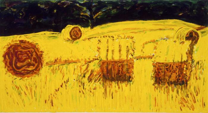 1990 02 04 Strohrollen II Öl auf Leinwand 75x140 cm