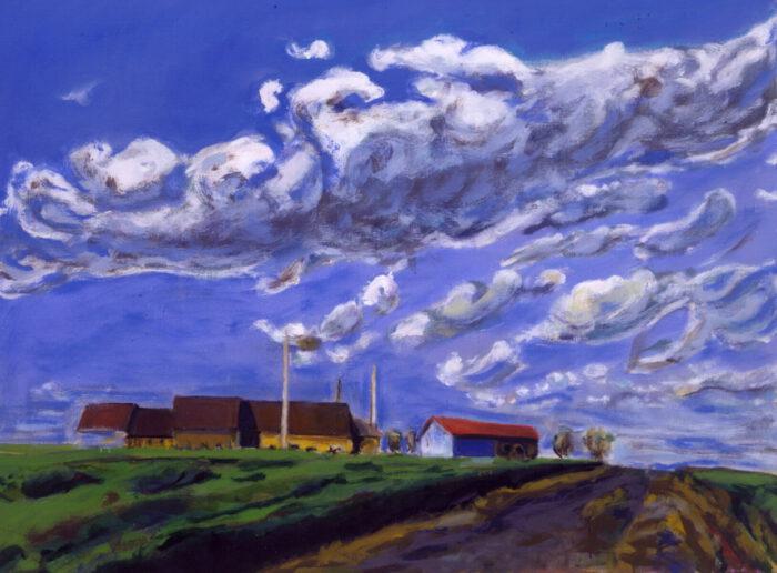 1990 03 02 Wolken Fontainejean Acryl auf Leinwand 90x120 cm