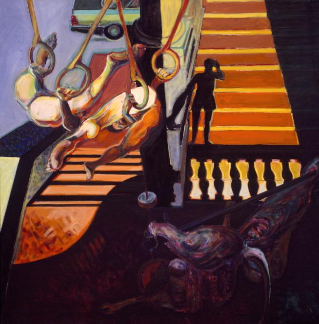 1990 04 03 Loggia Meleto II Öl auf Leinwand 300x300 cm
