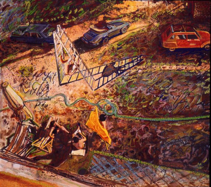 1990 05 03 Testaferrata Öl Ölkreide auf Nessel 250x250 cm