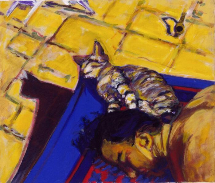 1990 05 16 Katze Testa Öl auf Leinwand 60x70 cm