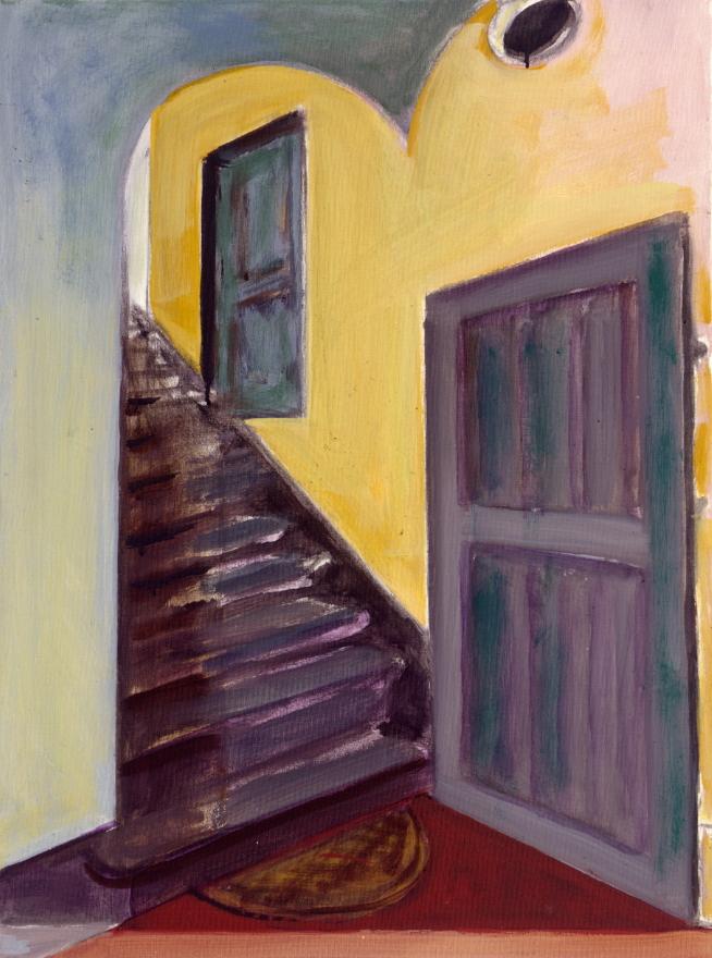 1990 06 01 Treppe II Gouache Kohle auf Leinwand 82x62 cm