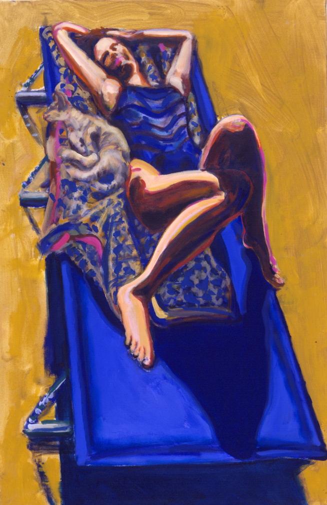 1990 08 08 o.T. Liegestuhl Acryl auf Baumwolle 120x80 cm