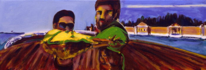 1990 11 01 Burghof Öl auf Leinwand 35x100 cm