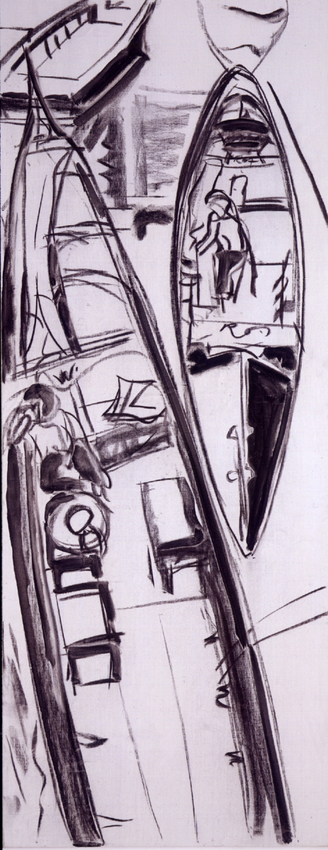 1990 13 01 Venezia Kohle auf Leinwand 240x95 cm