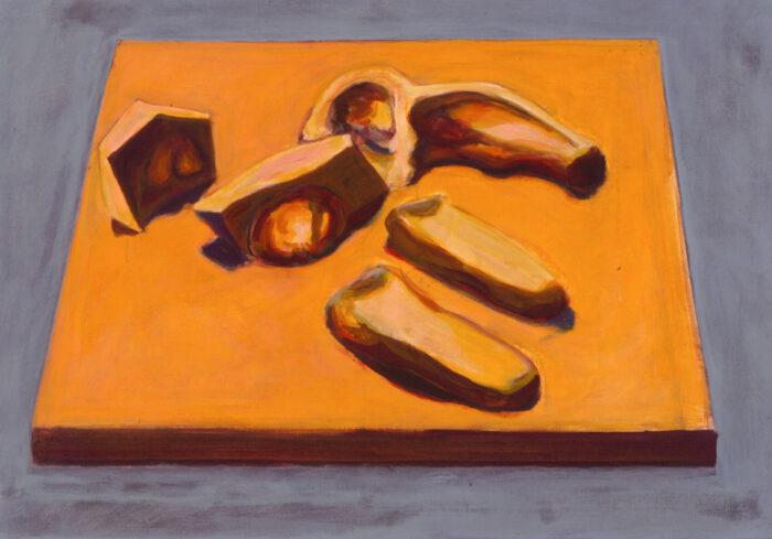 1990 21 01 Plastiken II Öl auf Leinwand 70x100 cm