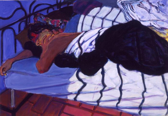 1991 06 01 August 91 Ulla Bleu I Acryl auf Leinwand 80x100 cm