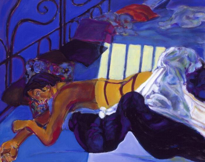 1991 06 02 Ulla Bleu II August September Acryl auf Nessel 70x100 cm