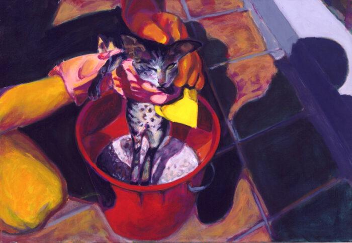 1992 12 01 Katze Acryl auf Leinwand 70x100 cm