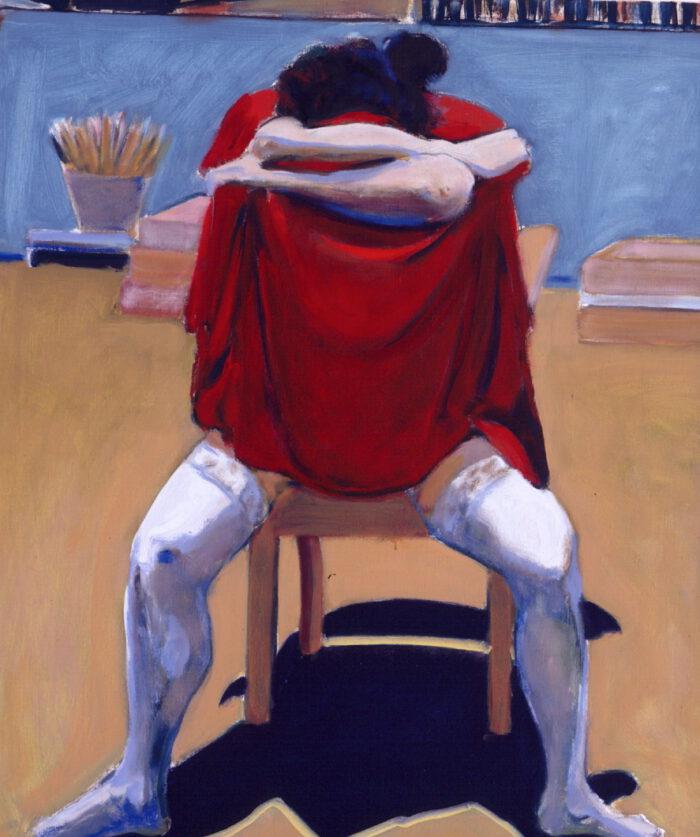 1993 01 01 o.T. IV Rotes Tuch Öl auf Leinwand 105x90 cm
