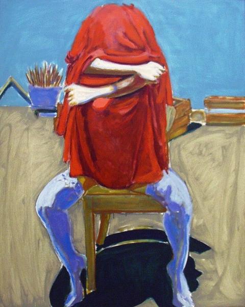 1993 01 02 o.T. III Rotes Tuch Öl auf Leinwand 100x70 1
