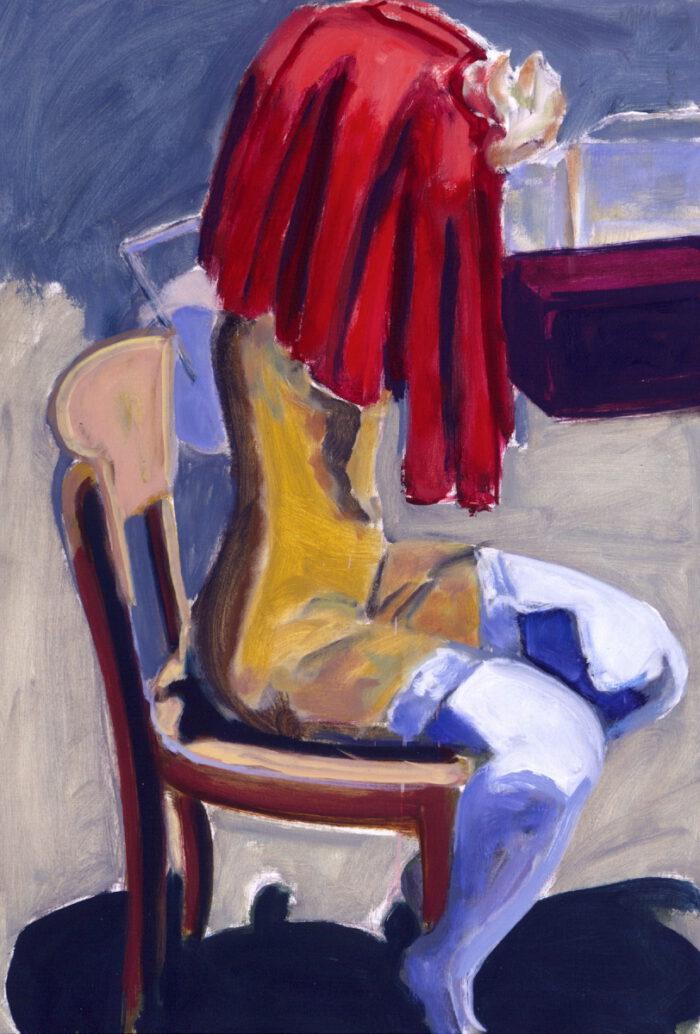 1993 01 03 o.T. III Rotes Tuch Öl auf Leinwand 100x70 cm