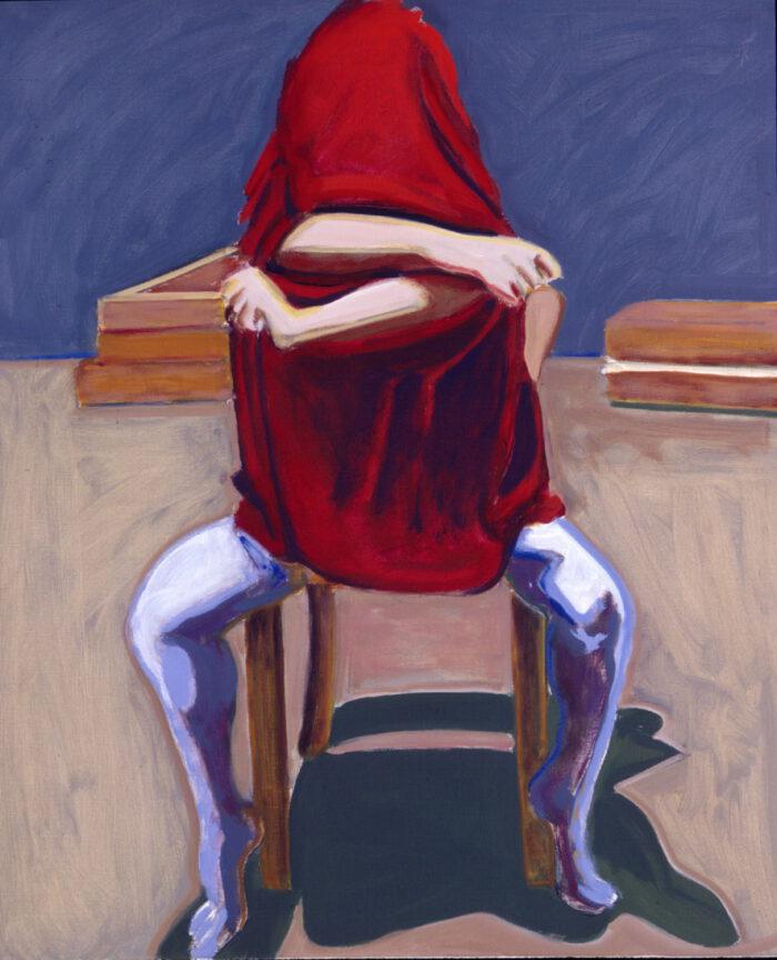 1993 01 04 o.T. II Rotes Tuch Öl auf Leinwand 120x100 cm