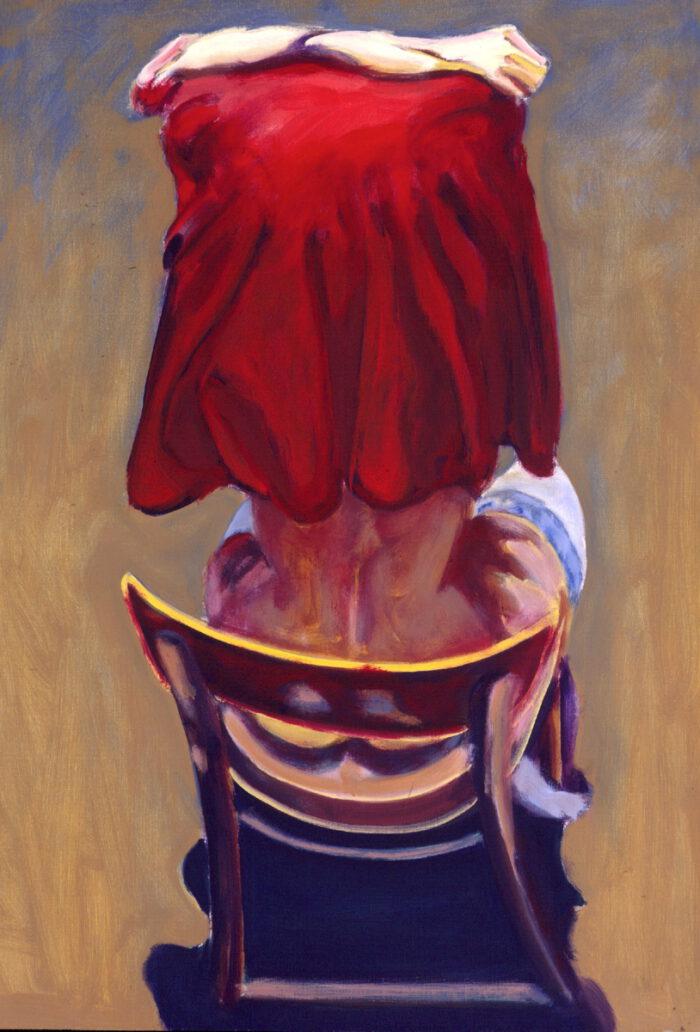 1993 01 06 o.T. V Rotes Tuch Öl auf Leinwand 100x70 cm