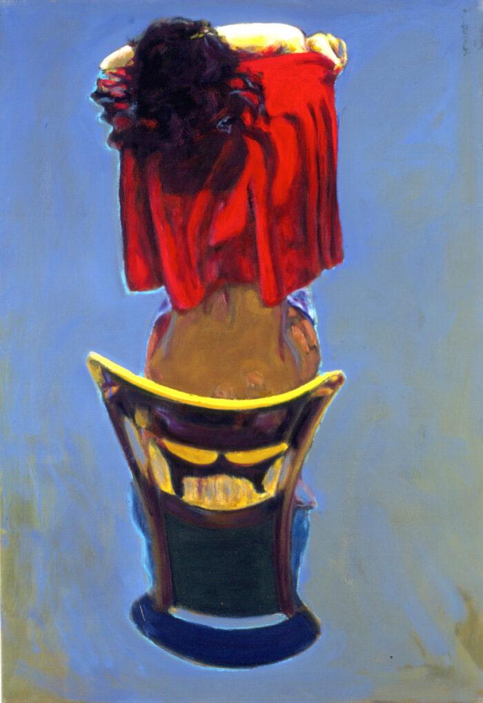 1993 01 08 o.T. VIII Rotes Tuch Öl auf Leinwand 100x70 cm