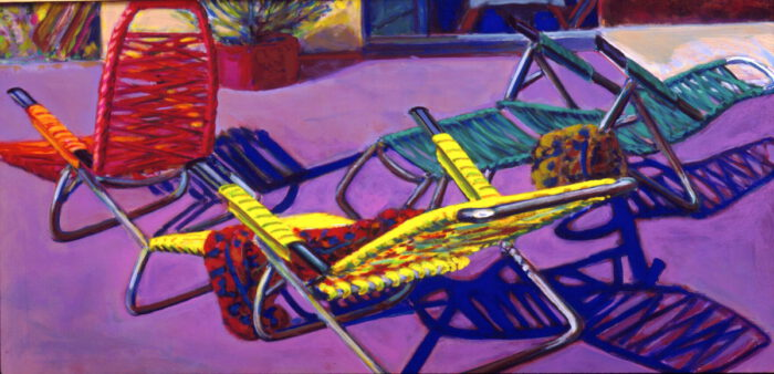 1993 04 11 Stühle Acryl auf Leinwand 60x120 cm
