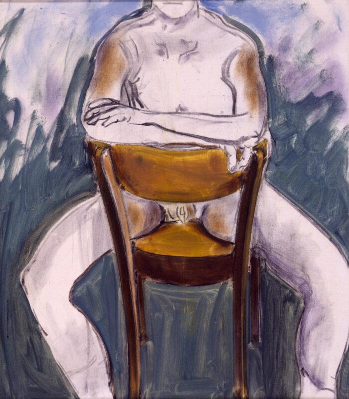 1993 06 03 Iris Kohle Öl auf Leinwand 70x62 cm