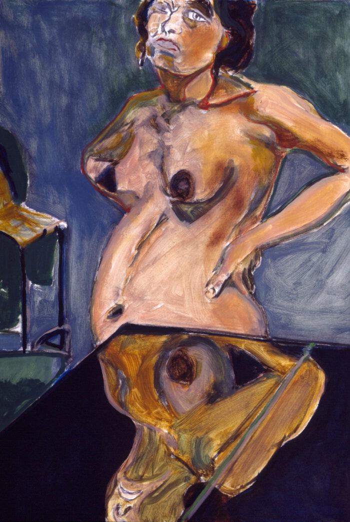 1993 08 05 XXXIII. Kohle Öl auf Leinwand 92x64 cm