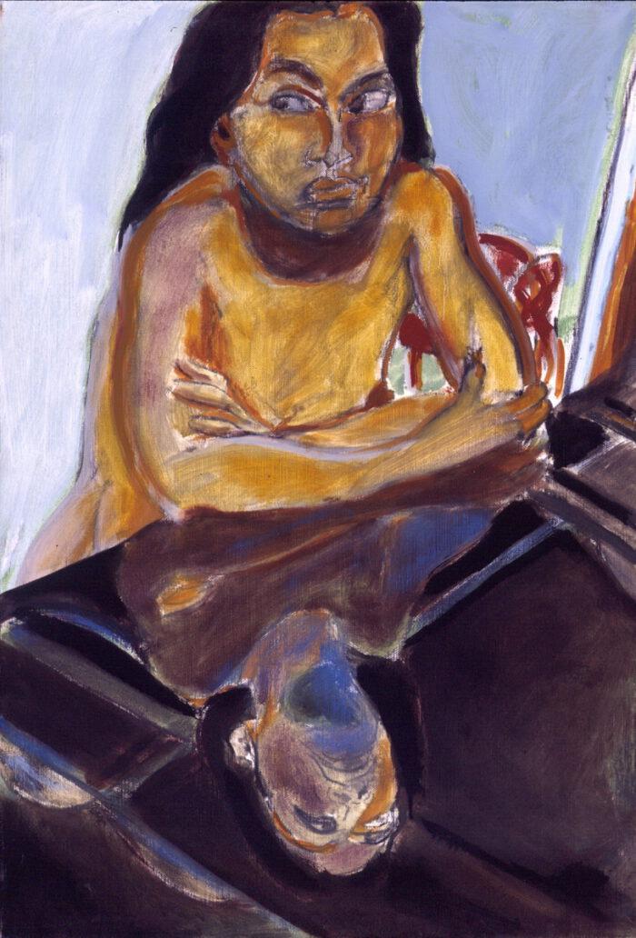 1993 08 06 o.T. Viola Kreide Öl auf Leinwand 60x42 cm