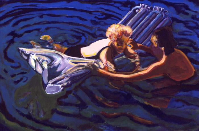 1993 09 01 Testa Mutter beim Schwimmen Acryl auf Leinwand 100x150 cm