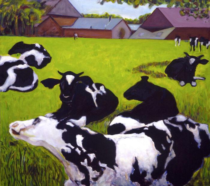 1993 17 01 o.T. Kühe Öl auf Leinwand 19x210 cm