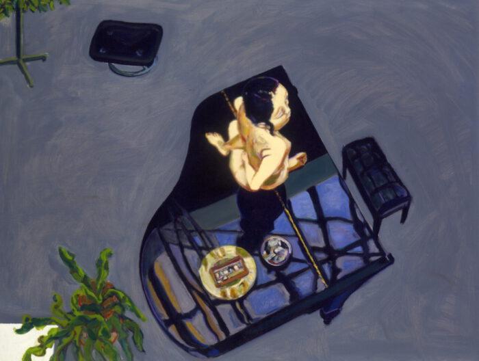 1993 18 04 RIE jap. Japanerin und Flügel Öl auf Leinwand 102x133 cm