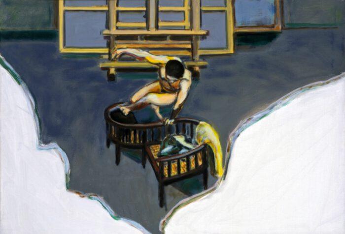1993 18 06.Atelier Selbst. Öl auf Leinwand 70x100cm