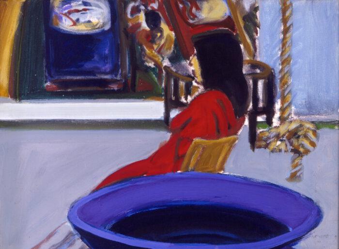 1993 22 01 Blaue Vase Öl auf Leinwand 30x40 cm