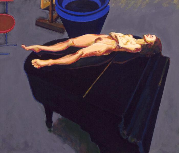 1994 01 12 o.T. Akt und Flügel Öl auf Leinwand 90x105 cm
