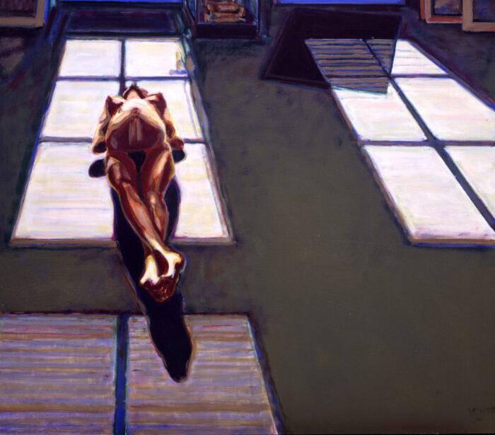 1994 02 06 vor der Tür Öl auf Leinwand 140x160 cm