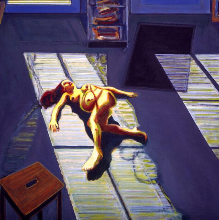 1994 02 07 an der Tür Öl auf Leinwand 135x135 cm