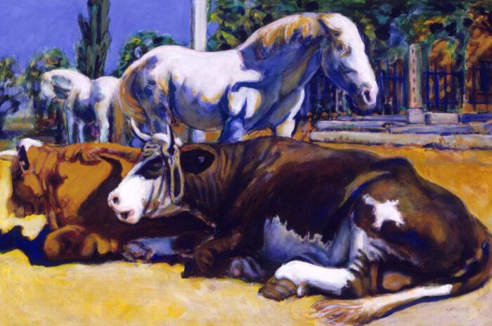 1994 06 02 Blaue Pferde Acryl auf Leinwand 100x150 cm