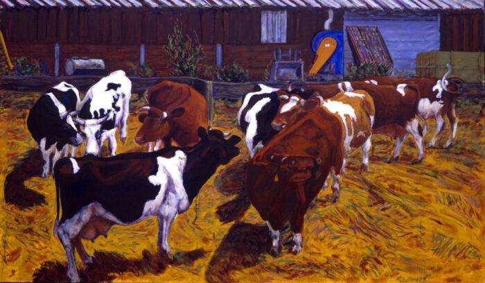 1994 06 03 Schwarz und Rotbunte Öl auf Leinwand 203x340 cm