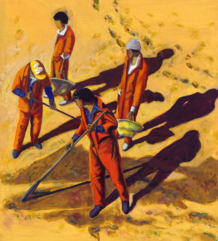 1994 14 01 Müllmänner Öl auf Leinwand 180x152 cm