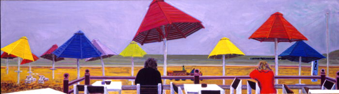 1995 01 09 Holzschirme Agadir Öl auf Leinwand 120x425 cm
