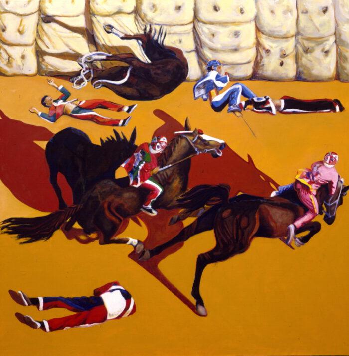 1995 01 11 Cavalli Schatten braun Öl auf Leinwand 298x298 cm