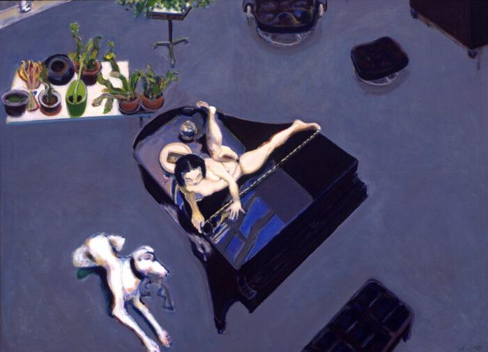 1995 06 01 Weisser Hund Öl auf Leinwand 130x180 cm