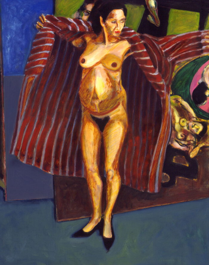 1995 07 01 o.T. Schwangere im Bademantel Öl auf Leinwand 125x100 cm