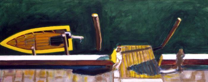 1995 15 01 o.T. Boot Acryl auf Leinwand 60x152 cm