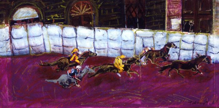 1996 01 05 Cavalli 16 Acryl Kreide Papier auf Leinwand 35 5x70 cm
