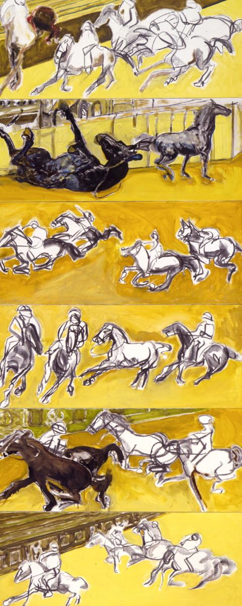 1996 01 07 Cavalli gelb 6 teilig Kohle Öl auf Leinwand je 70x170 cm