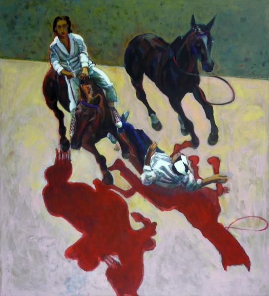 1996 01 15 Cavalli Triptychon 2 Acryl Lwd. 206x188 1