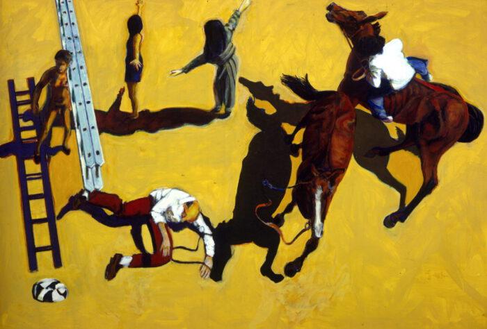1996 01 37 Cavalli 3 Triptychon 3 Acryl auf Leinwand 206x301 cm