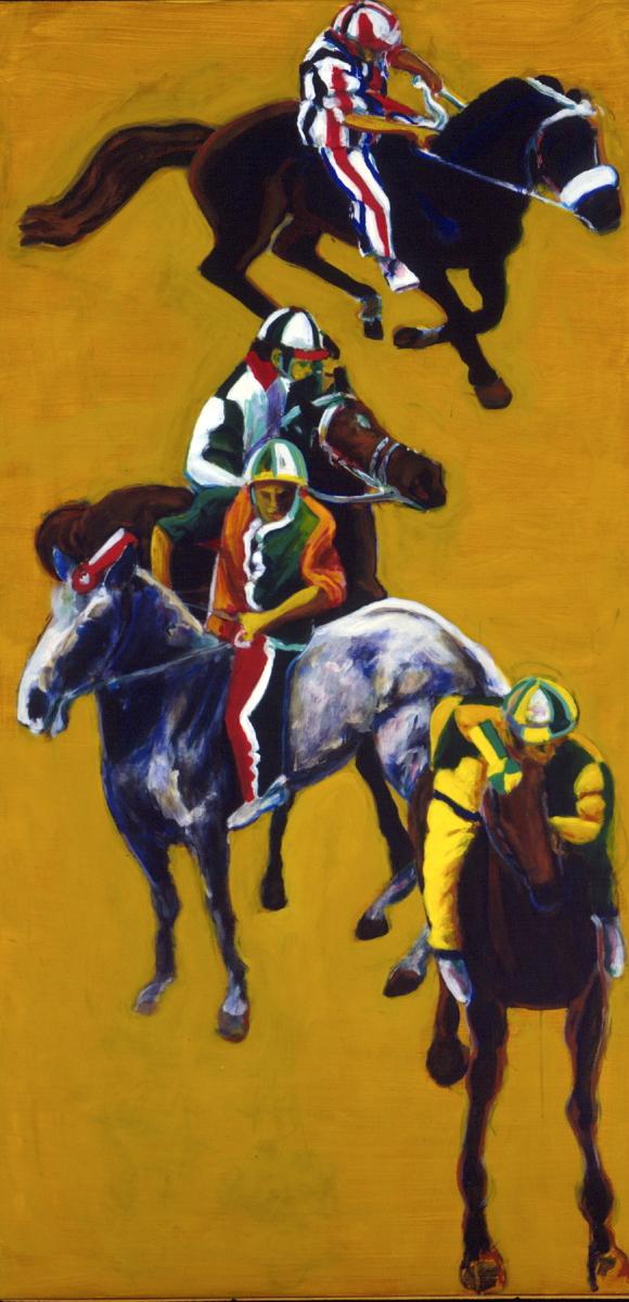 1996 01 44 Cavalli 9 Acryl auf Leinwand 200x100 cm