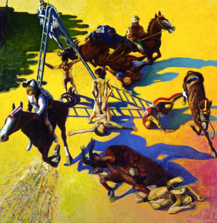 1996 01 46 Cavalli 4 mit Leiter Öl auf Leinwand 298x298 cm