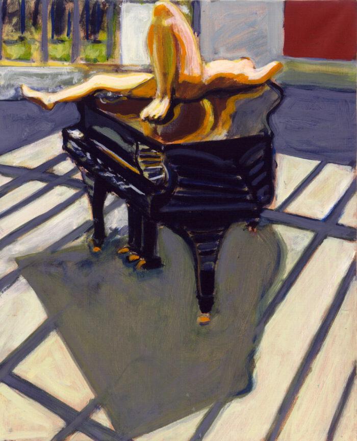 1996 05 04 Akt auf Flügel Acryl auf Leinwand 62x50 cm