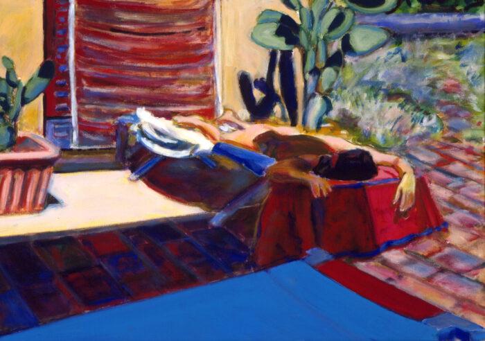 1996 07 02 Terrazza 2 Testa mit Kamin Acryl auf Leinwand 70x100 cm