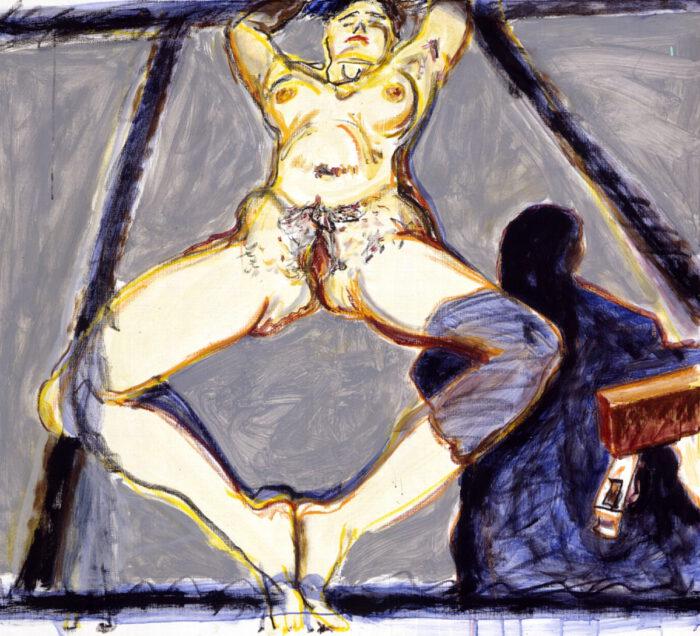 1996 08 02 o.T. Akt Kohle Kreide und Acryl auf Leinwand 109x120 cm