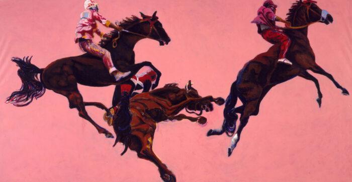 1997 01 08 Cavalli rosé 9 Acryl auf Leinwand 206x396 cm