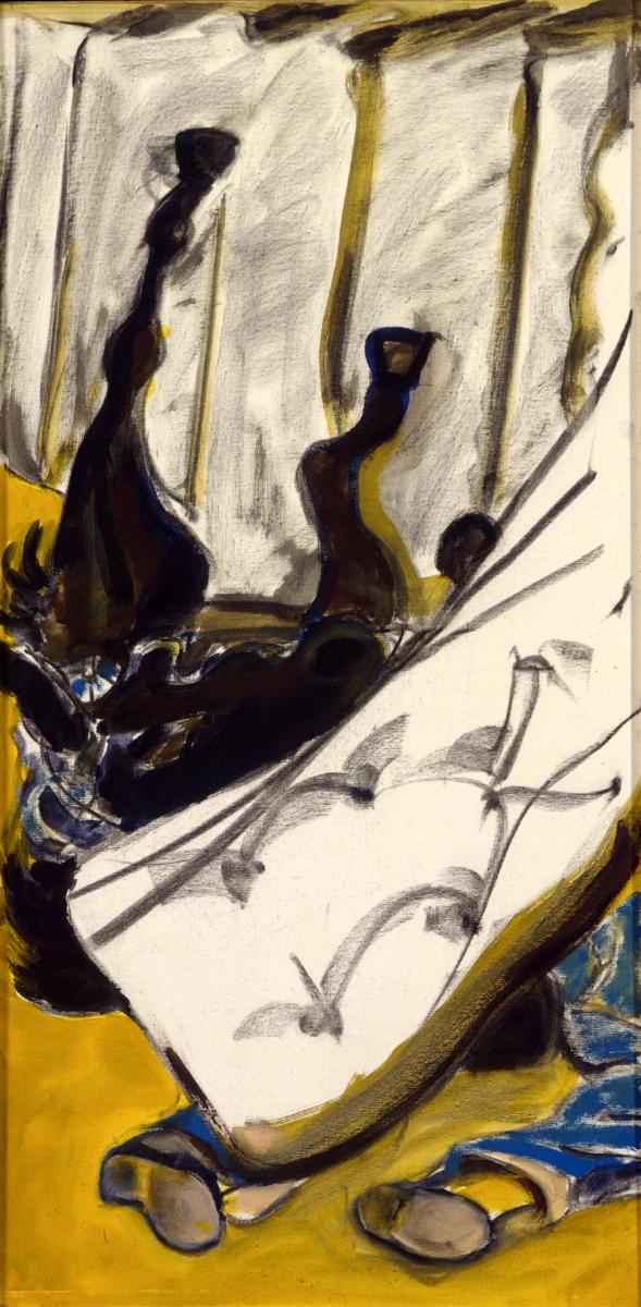 1997 01 12 Caduto 3 Acryl Kohle auf Leinwand 121x60 cm
